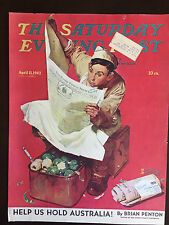 1942 Saturday Evening Post COVER ONLY Norman Rockwell Willie Gillis on K.P.