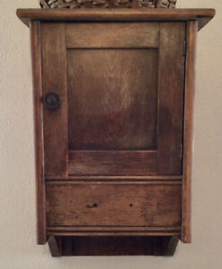 Beautiful Antique Farmhouse Oak Wood Wall Cabinet Bathroom Kitchen Drawer Door