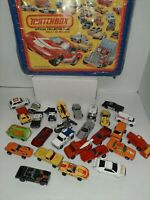 Vintage Hot Wheels / Matchbox Assorted Lot of 26 Cars In Vinyl Case