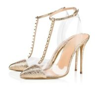 Womens Ladies Fashion Transparent T-Bar Ankle Strap High Heel Sandals Shoes XUNL