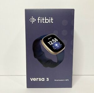 Fitbit Versa 3 Activity Tracker - Midnight/Soft Gold Aluminum NEW