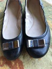 Coach Ballet Flats Slip On Shoes Size 8 B M Black w/ Silver Bow So Cute!