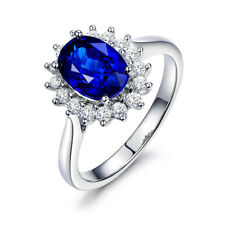 Women Blue Birth Stone White Gold Plated Oval Wedding Engagement Ring Size 9 R9