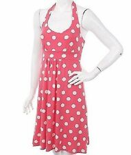 $98 BODEN SOFT VISCOSE JERSEY CORAL PINK POLKA DOT HALTERNECK DRESS WH322 US 16L