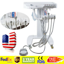 Mobile Portable Dental Delivery Unit System Cart Syringe Handpiece 4Hole Denture