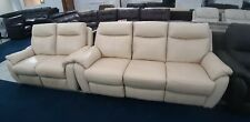 Cream Real Leather Manual Reclining 3+2 Sofas