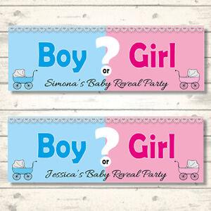 2 PERSONALISED GENDER REVEAL BANNERS - BOY OR GIRL?  800 x 297mm PRAM DESIGN