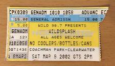 2002 Wildsplash Clearwater Florida Concert Ticket Stub Wild 94.1 Tampa Wlld