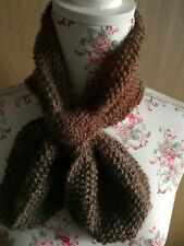 Hand Knitted Ascot Neck Warmer Scarf: Pale Browns Marble, by KnittedNature