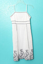 Signature by Robbie Bee Dress White Cotton Sundress Floral Embroidered Sz 6P