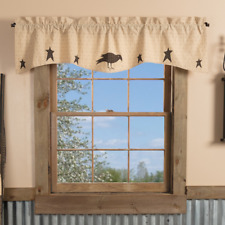 VHC Kettle Grove Applique Crow Star Primitive Cottage Lined Window Valance