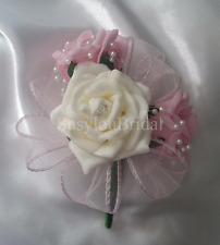 Wedding Flowers Buttonhole  Corsage Baby Pink  Ivory Roses  Pearls Ribbon Loops