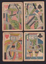 rare c1800 Jazaniah Ford Early American 4 Playing Cards Massachusetts