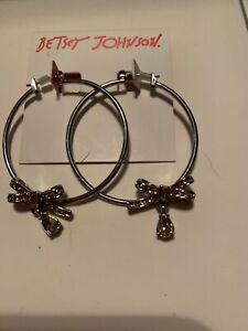 $32 Betsey Johnson Get Your Wings Bow Hoop Earrings Blush Pink V5