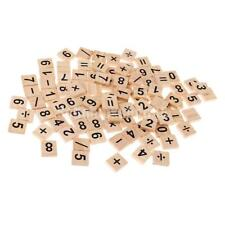 100pcs Wooden Puzzles Numbers&Symbols Tiles for Crafts Wood Intelligence Toy