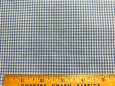 Vintage Cotton Fabric NICE Lt Blue&White Woven Gingham Plaid 36w 1yd