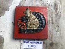 Ceramic Art Tile Mid Century Pottery Amphora Perignem Belgium Lion Zodiac Retro