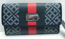 TOMMY HILFIGER Woman's Continental Wallet *Navy Blue/Red/Silver *Checkbook *New