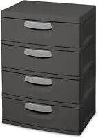 4 Drawers Closet Cabinet Plastic Office Furniture Hidden Rollers Sterilite Gray