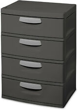 4 Drawers Closet Cabinet Plastic Office Furniture Hidden Rollers Sterilite Gray