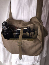 Vintage 1950's Army Military Messenger Bag Linen Canvas Cross Body Satchel Purse
