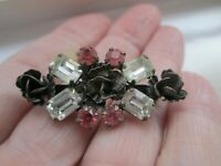 Vintage Faceted Pink & Clear Claw Set Glass Metal Rose Flower Brooch Pin