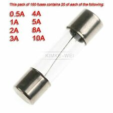 160 x Quick Blow Glass Fuses 20mm 1A 2A 3A 4A 5A 8A 10A