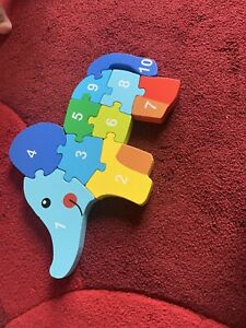 Wooden Animals Colorful ELEPHANT Jigsaw Puzzle Educational Toy For Kids