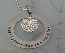 Personalised  Hand Stamped Family Any Wording or Dates Crystal Heart Pendant