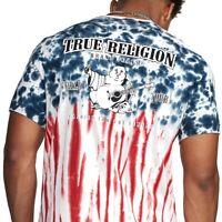 True Religion Men's Americana Tie Dye Tee T-Shirt in Red/White/Blue