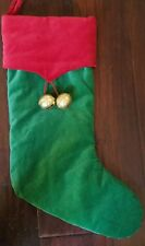 New Pottery Barn Green Red Velvet Jingle Bell Christmas Stocking