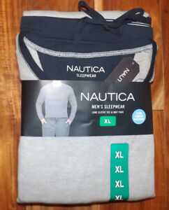 NIP Mens NAUTICA Sleepwear Set Gray Navy Blue Thermal Shirt Navy Knit Pants XL