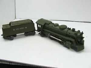 MARX OLIVE GREEN 666 ARMY LOCO AND ARMY TENDER CAST W/SMOKE