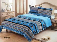 3 Piece Queen Size Comforter Set Southwest Design Turquoise