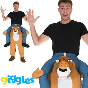 Lion Piggy Back Ride On Me Mascot Mens Fancy Dress Carry Costume Stag Do