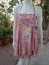 ALICE + OLIVIA Sexy Club Dress Ivory Pink Green Orange Lined 100% Silk