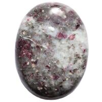Charged Rubellite Red Tourmaline Crystal Palm Worry Stone + Selenite Puffy Heart