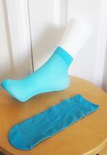 Silver Blue Glitter Shimmer Socks Girls Ladies Dance Sheer Trainer Quarter 2-8
