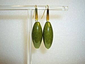 DYED OLIVE GREEN AGATE EARRINGS WITH GOLD PLATED HOOKS