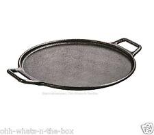 """Cast Iron Pan Seasoned Pizza Baking Grilling Cookware Indoor Outdoor Rnd Blk 14"""""""