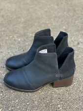 Sorel Cate Cut Out Boots Black Leather Size 8 Women's Ankle Bootie