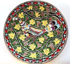 """Antique Enamel Cloisonne Colorful Wall Art / Plate Bird, Grapes, Leaves Motif 7"""""""