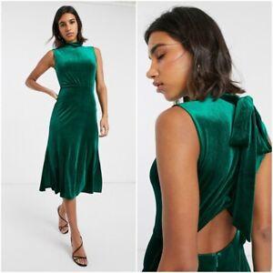 ex Warehouse Forest Green High Neck Velvet Midi Dress