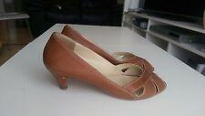 Russell & Bromley Tan Brown Peep Toe Shoe - UK size 7 (EU 40)