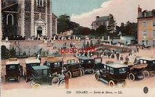 DINARD Sortie de Messe. LL France, Old Autos and People by Church, horse buggy