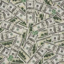 Tissu D'Ameublement de Coton Dollar Dollarscheine Beige Vert Noir 1,40m Largeur