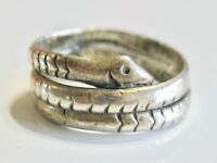 VINTAGE SNAKE COIL WRAP RING TAXCO MEXICO 925 STERLING SILVER PINKY EAGLE 3 SZ 3