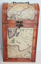 Dual Two Bottle World Map Wooden Wine Gift Caddy Hinged Handle Storage Container