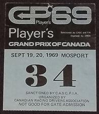 1969 - FORMULA 1 - PLAYER'S GRAND PRIX MOSPORT, ONTARIO, CANADA - TICKET / PASS