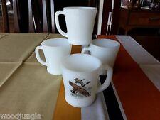 4 Vintage MID CENTURY MILK GLASS FIRE-KING COFFEE MUGS CANADA GOOSE D HANDLE